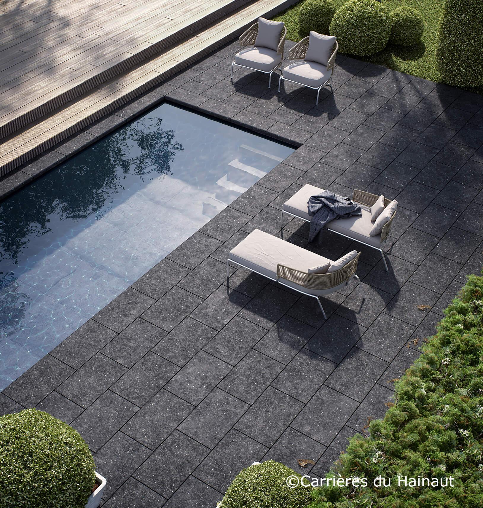 Terrasse dalles pierre bleue EnoLuce